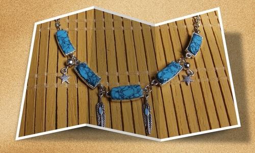 Collier country en pâte fimo imitation pierre de turquoise
