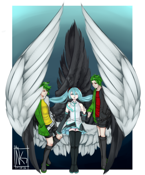 Hatsune Miku and Genshine belgian twins