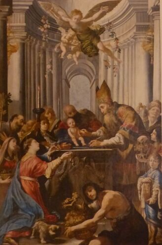 Circoncision d'un bébé, au milieu d'une foule, dans un décor antiquisant.