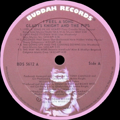 """Gladys Knight & The Pips : Album """" I Feel A Song """" Buddah Records BDS 5612 [ US ] en Novembre 1974"""