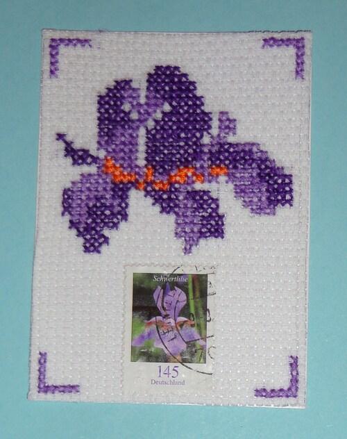 ATC timbrées : iris et coquelicots
