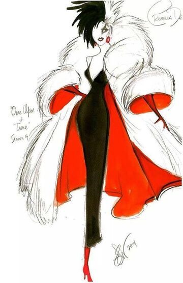 Eduardo Castro's sketch of Cruella's look for S4… from Twitter (OUAT Fanatics).: