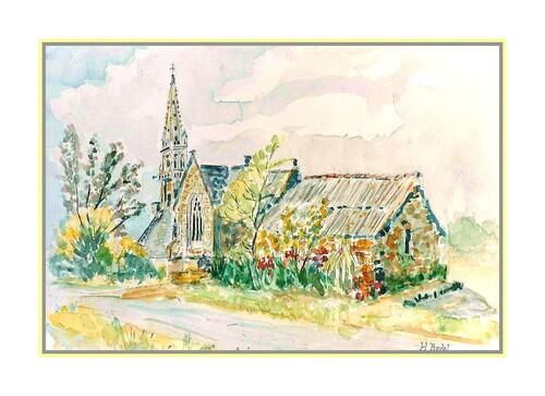 Aquarelle:la chapelle en Bretagne.