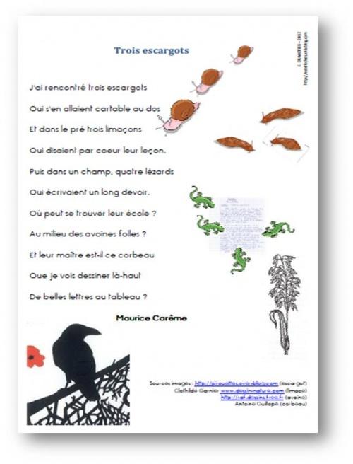 Trois escargots, Maurice Carême