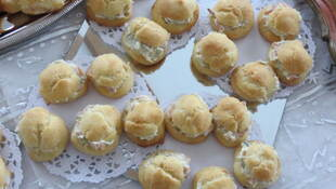 Choux framboises/crème fraîche, mascarpone