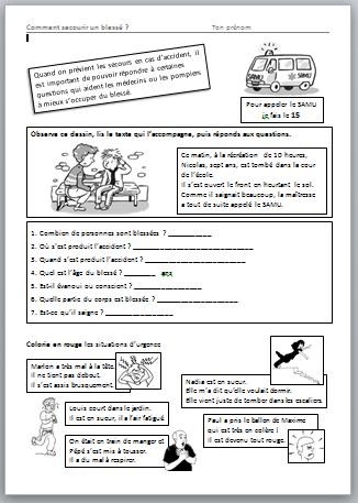 Apprendre porter secours en cp le stylo de vero - Apprendre a porter secours cycle 3 ...