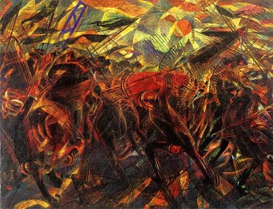 Carlo Carrà, Les funérailles de l'anarchiste Galli, 1910