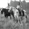 Chief Plenty Coups (on right) and another Crow horseman. Montana.Early 1900s. Photo Richard Throssel