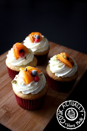 Cupcakes Abricots et Fruits Rouge