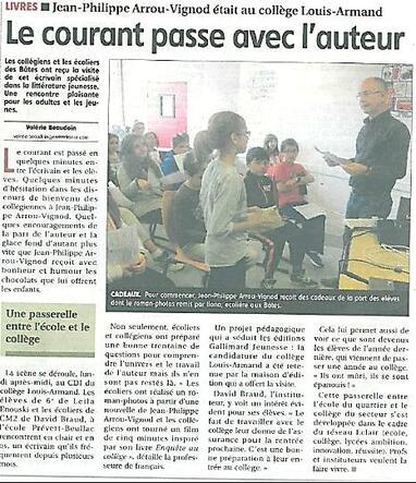Article sur la venue de Jean-Philippe Arrou-Vignod