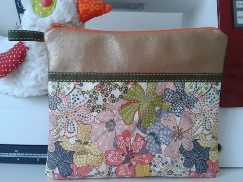 Pochette liberty mauvey orange, simili or cuivré