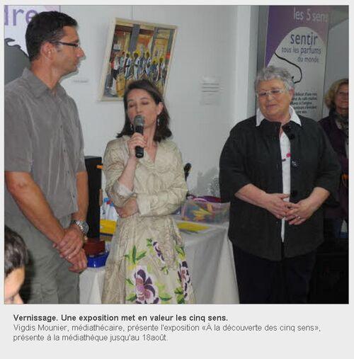 Le Télégramme - 10/07/2012 - Vernissage. Une exposition met en valeur les cinq sens.