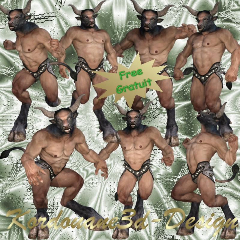 Minotaure : homme bête (tube-poser)