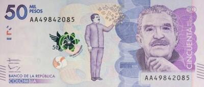 COLOMBIE NOUVEAU BILLET DE 50 000 PESOS A L'EFFIGIE DE GABRIEL GARCIA MARQUEZ
