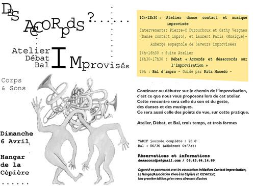 6 avril (dimanche) IMPRO : atelier, débat, Bal