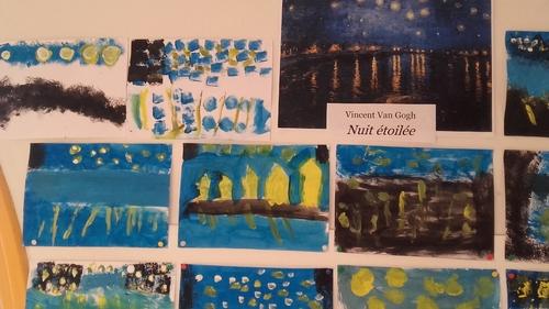 """""""Nuit étoilée"""" de Van Gogh vue par les élèves de cp"""