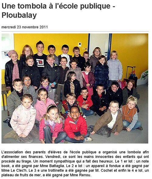 23/11/2011 - Une tombola à l'école publique