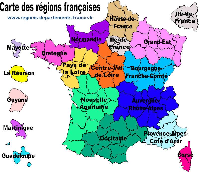 Régions et départements français 2021