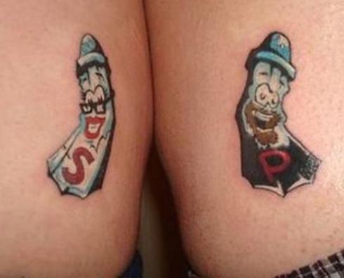 tatouage de couple sel et poivre