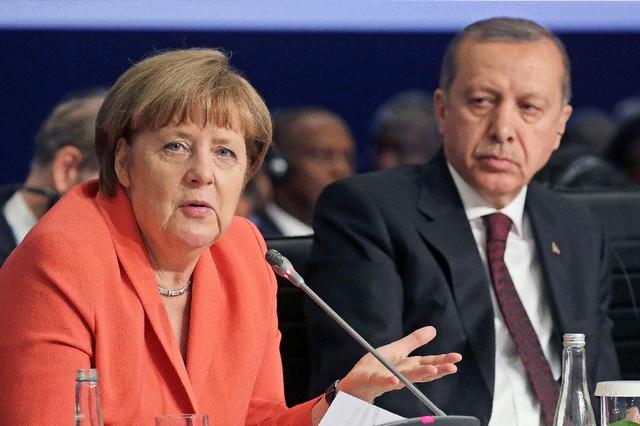 La chancelière allemande Angela Merkel et le président turc, Recep Tayyip Erdogan.
