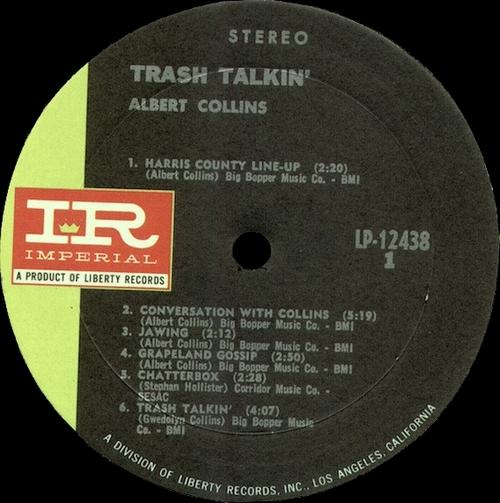 "Albert Collins : Album "" Trash Talkin' "" Imperial Records LP-12438 [ US ]"