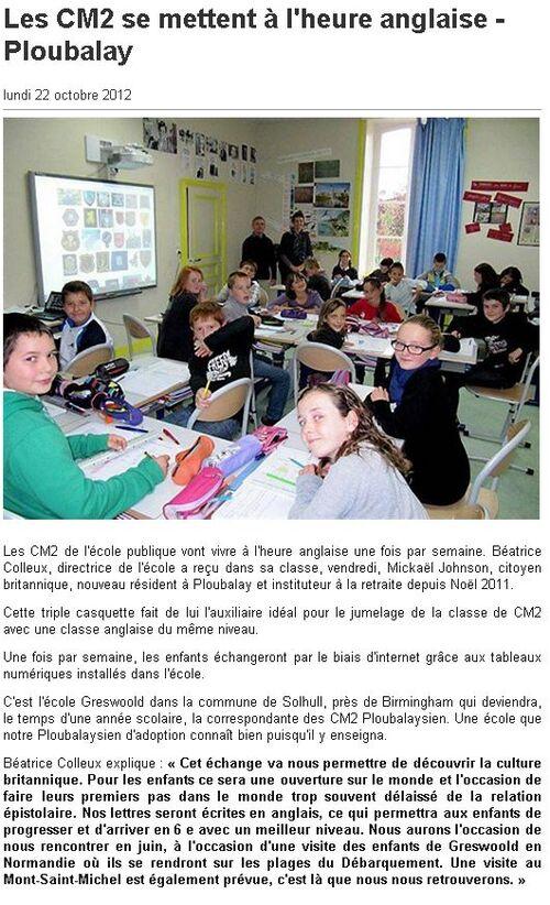OUEST FRANCE - 22/10/20121 - Les CM2 se mettent à l'heure anglaise