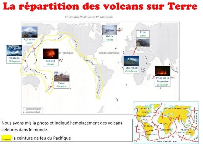 Répartition des volcans les plus célèbres dans le monde