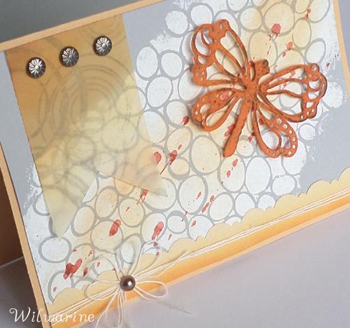 carte orange, blanc, gris, libellule, fanion, gesso, ficelle, encre