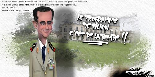 dessin de JERC vendredi 13 janvier 2017 caricature François al Assad A quand le soutien de Donald Trump à François Fillon ? www.facebook.com/jercdessin