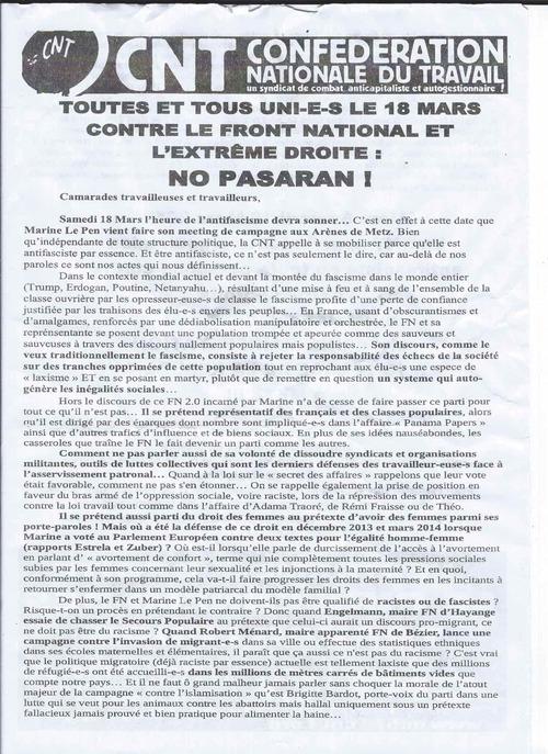 Publicité de la CNT pour le meeting de Marine