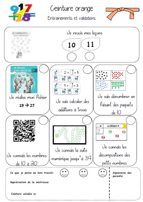 Ceintures nombres et calculs avec MHM