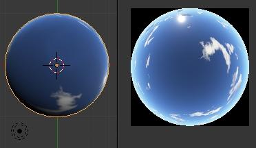 L'image du ciel est mappé sur l'intérieur de la sphère à gauche