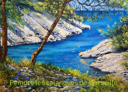 Dessin et peinture - vidéo 2850 : Peindre les calanques de Marseille près de Cassis 1/4 ? - couteau à l'huile ou acrylique.