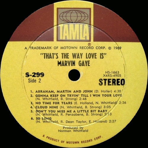 "Marvin Gaye : Album "" That's The Way Love Is "" Tamla Records TS 299 [ US ]"