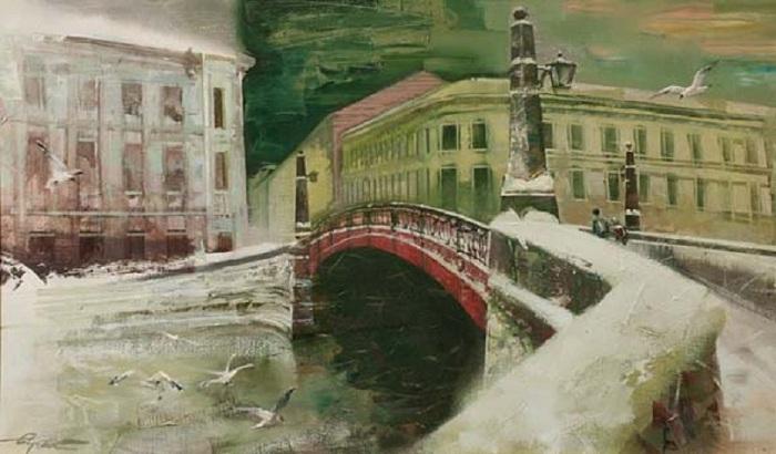 Pont rouge  Auteur: Sergey Sidelev.