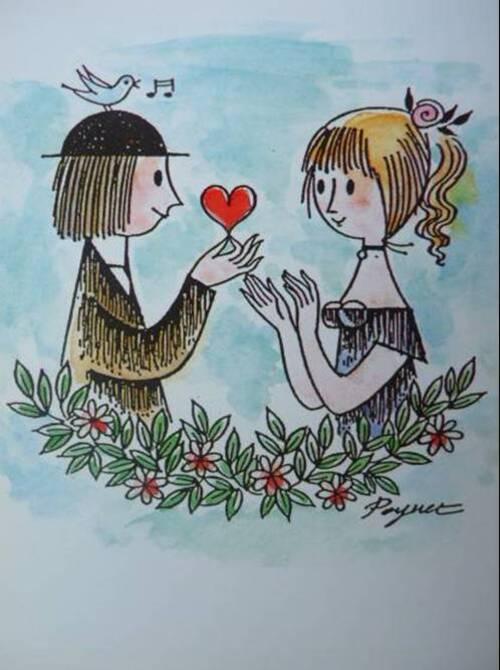 Les jolis dessins e Peynet pour la St-Valentin