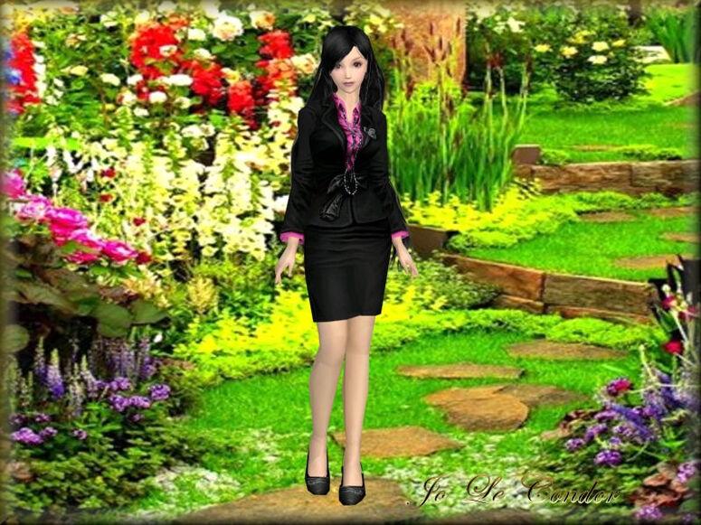 La châtelaine dans son jardin...En 3d