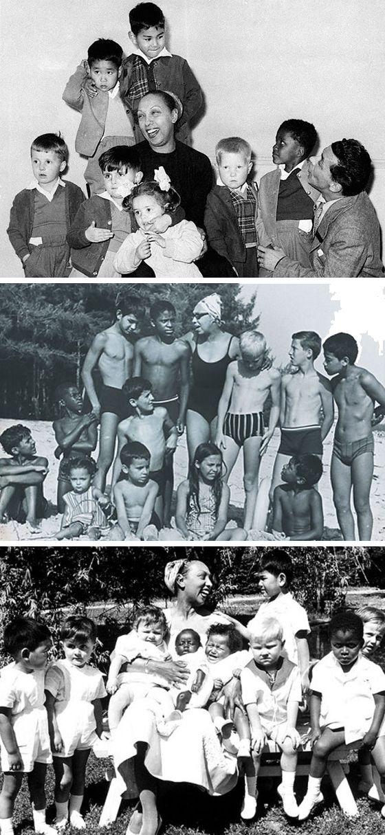 """One of the world's great Moms was Josephine Baker. She adopted 12 children, which she called her Rainbow Tribe. She wanted to prove that """"children of different ethnicities and religions could still be brothers."""":"""