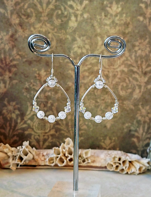 Boucles anneaux quartz blanc rubassé / Argent 925 / White crackle quartz rings earrings sterling silver