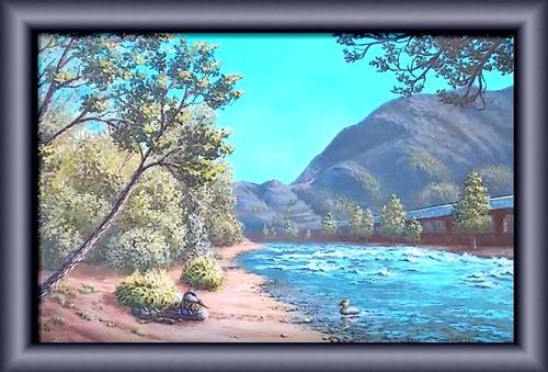 Dessin et peinture - vidéo 25 - La promenade au bord de la rivière 1/8 et 2/8 - paysage à l'acrylique ou à l'huile.