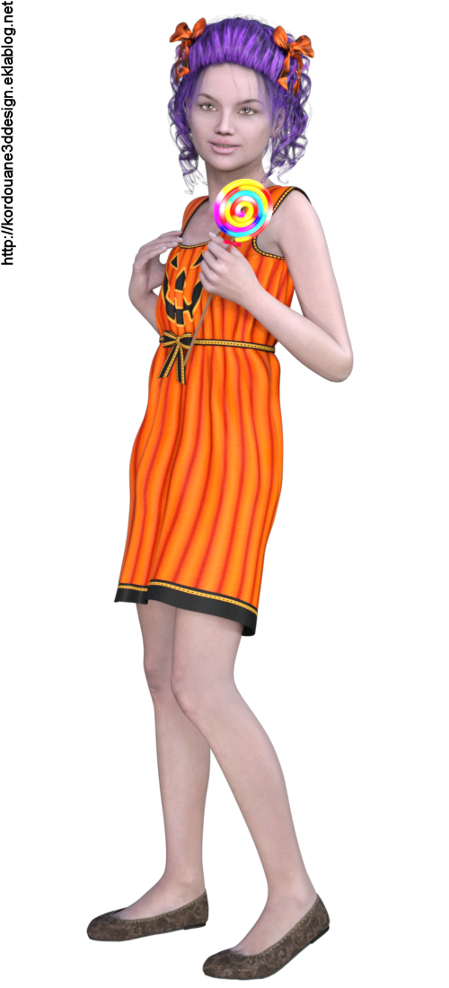 Images fillette d'Halloween (tube-render)
