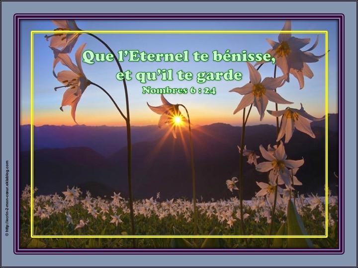 Que l'Eternel te/vous bénisse et te/vous garde - Nombres 6 : 24