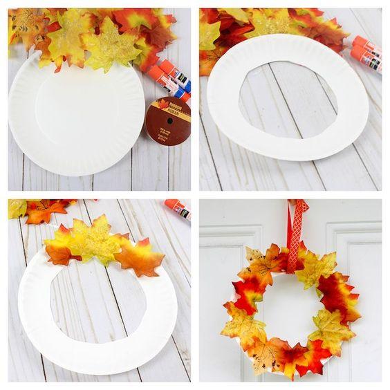 Idée pinterest : une couronne de feuilles d'automne.