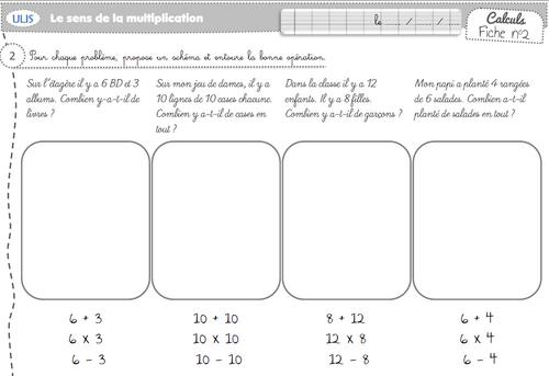 exercice et pb sur le sens de la multiplication