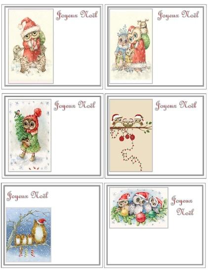 Petites cartes Joyeux Noël Hibou .....
