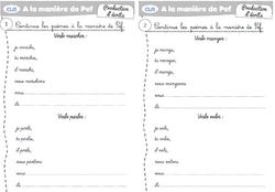 présent de l'indicatif :Exercices autour de PEF ( dispositif mémoire)