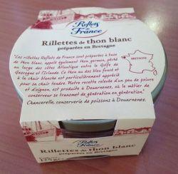 Rappel produit REFLETS DE FRANCE Rillettes de Thon Blanc Préparées en Bretagne Bocal en verre 125g Code barre: 3245390082589