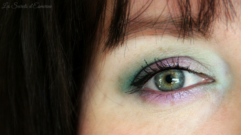 makeup vert émeraude et violet améthyste