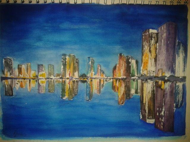 aquarelle reflets dans l' eau