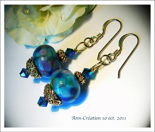 *  Boucles d'Oreilles Earrings Artistic Glass beads Blue Purple, Swarovski / Gold Filled